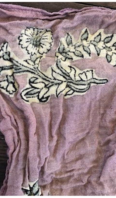 Woven Cotton Mayra Petite Floral Hand Blocked Printed Scarf