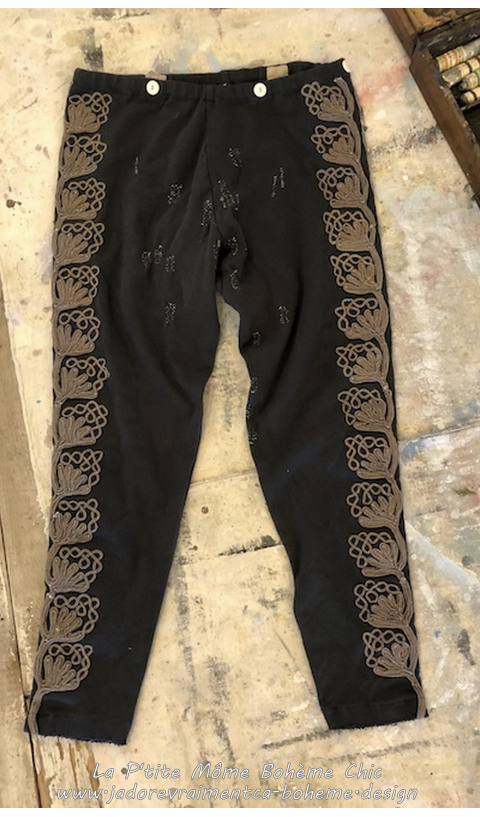 Remy Matador Leggings in Midnight with Metallic Embroidery Design In Loomed Cotton Jersey