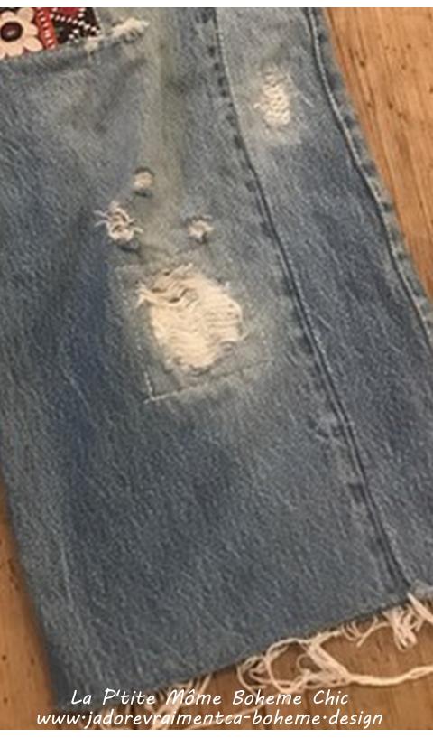 Le Jeans Edition Unique à Patch de Broderies Indiennes et Finitions Brut