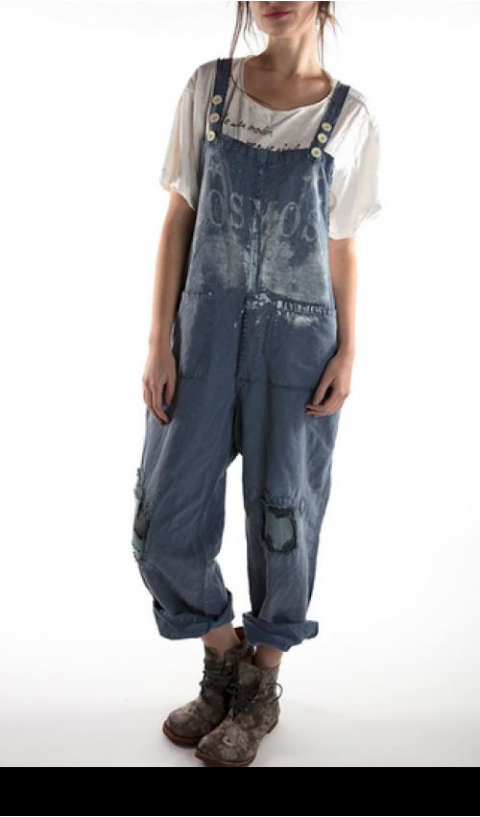 Cosmos Overalls with Pockets, Adjustable Straps, Patches In Workwear