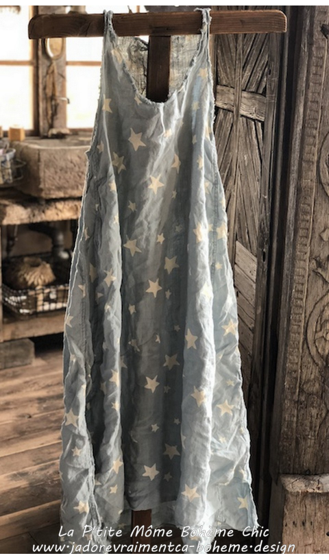 Layla Dress in Linen Texas Sky with draw edges and Monogram
