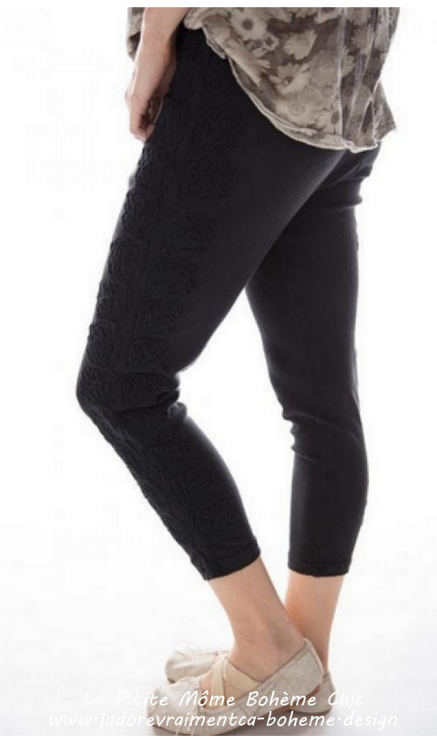 Remy Matador Leggings in Black with black Embroidery Design In Loomed Cotton Jersey