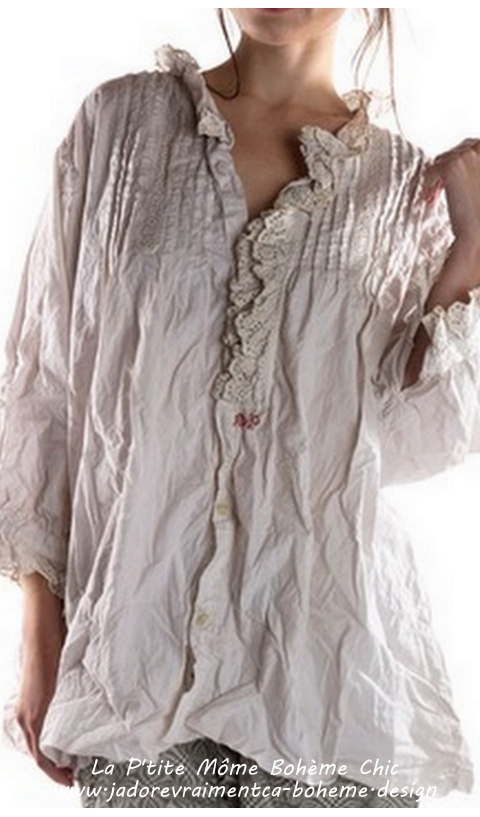 Covington Blouse In Moonlight with Eyelet Ruffles, Pin tucks and MP Monogram
