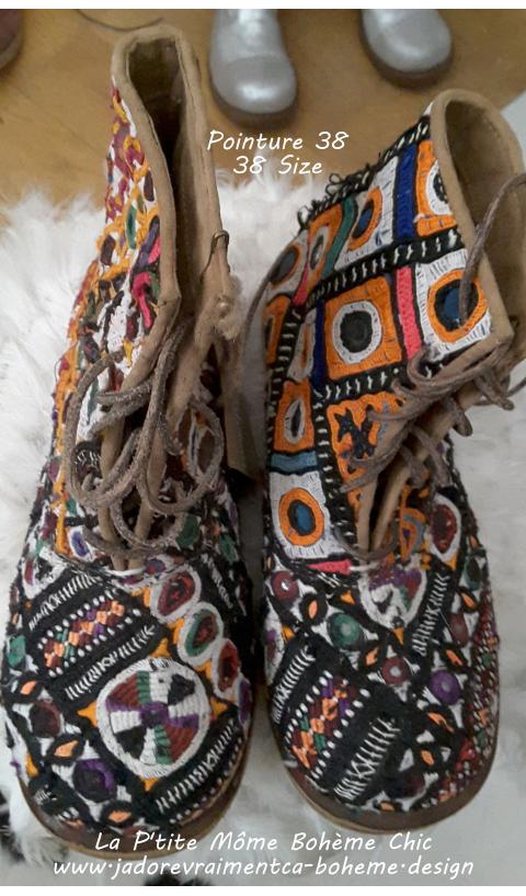 ETHNiC BOJANGLES Majmau (antique textiles - every pair unique)